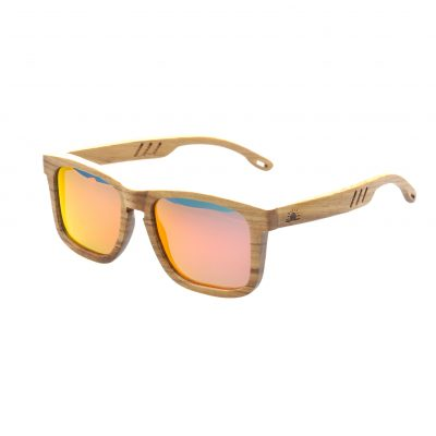 Zebra Wood Frame - Flame Mirrored Lenses - Fins