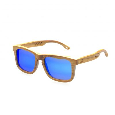 Zebra Wood Frame with Mirrored Blue Lenses - Fins