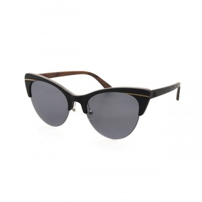 Ebony Wood Catseyes- Smoke Polarised Lenses - Miss P