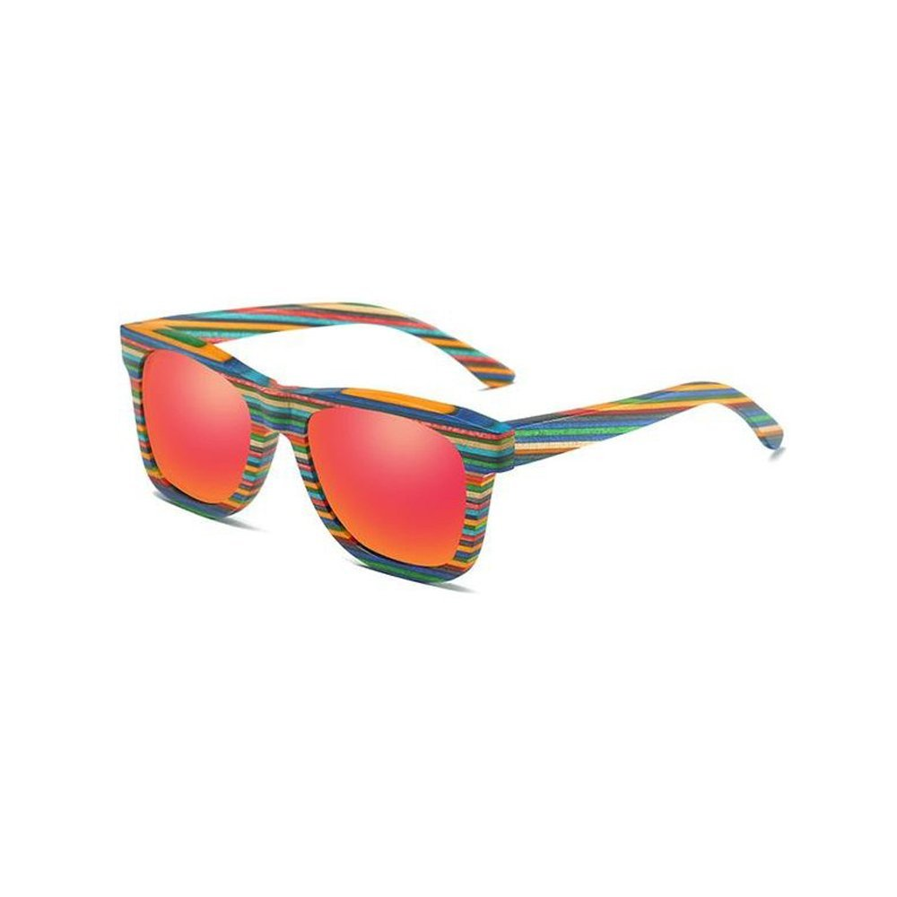 Coloured Bamboo Frame - Pink Polarised Lenses - Rainbow Waze