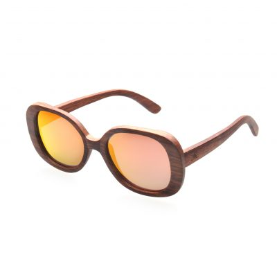 Rose Wood Frame with Red REVO Polarised Lenses - Bon Bon