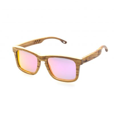 Zebra Wood Frame with Mirrored Purple Lenses - Fins